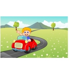 Cartoon boy driving red car vector
