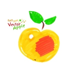 Yellow apple with leaves vector