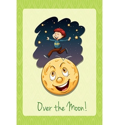 Over the moon idiom vector
