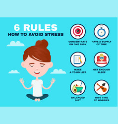 6 rules to avoid stress infographic young vector image vector image