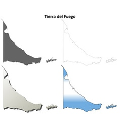 Tierra del fuego blank outline map set vector