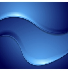 Dark blue abstract wavy background vector image