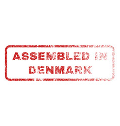 Assembled in denmark rubber stamp vector