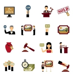 Auction Icons Set vector image vector image