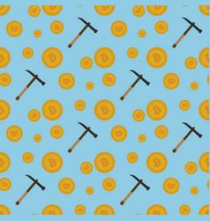 bitcoin mining seamless pattern vector image