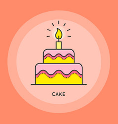 cake thin line vector image vector image