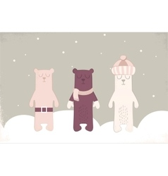 Christmas card of three polar bears with scarf vector