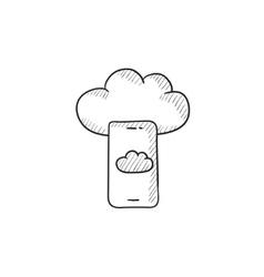 Cloud computing sketch icon vector image