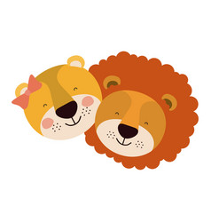 Colorful caricature faces of couple lion and vector
