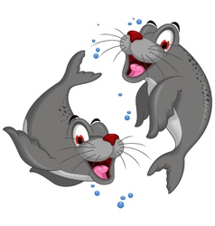 cute couple of Bull Elephant Seal vector image vector image