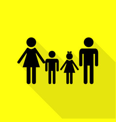 Family sign black icon with flat style shadow vector