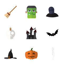 flat icon halloween set of witch cap cranium vector image vector image
