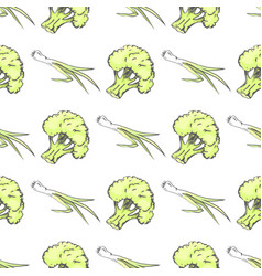 green organic broccoli and leek endless texture vector image