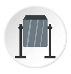 Grey metal dust bin icon circle vector