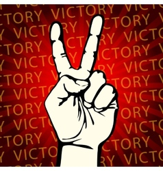 hand with victory sign vector image vector image