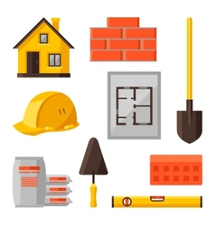 Industrial icon set of housing construction vector image vector image