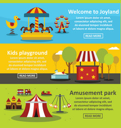 Kids playground banner horizontal set flat style vector