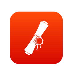 old rolled paper with a red wax seal icon digital vector image