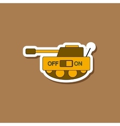 Paper sticker on stylish background kids toy tank vector