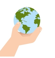 Planet world hand earth ecology vector