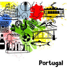 portugal background design portuguese national vector image vector image