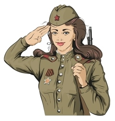 Russian girl soldier female soldier in retro vector