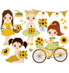 Set with cute little girls and sunflowers vector