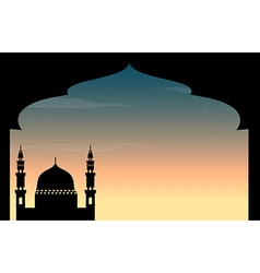 Silhouette mosque at twilight vector