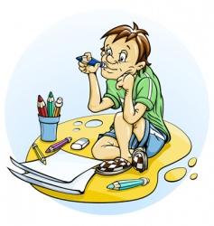 sitting boy draw pencil vector image