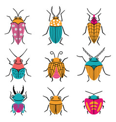 Small funny bugs icon set vector