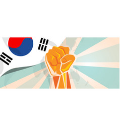south korea fight and protest independence vector image vector image