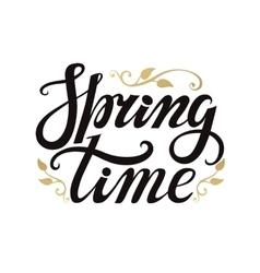 Spring time letteringgoldblackwhite background vector
