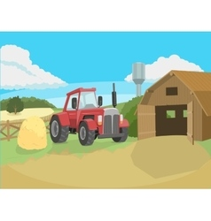Tractor on the farm vector