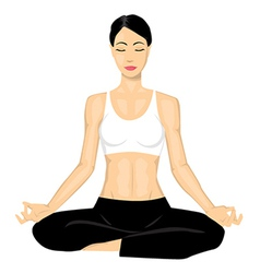 Woman doing yoga vector