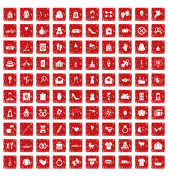 100 woman happy icons set grunge red vector