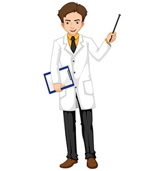 Ophthalmologist holding file and stick vector