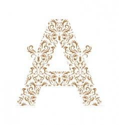Floral letter a ornament font vector