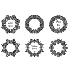 Round geometric ornaments set intricate lacy vector