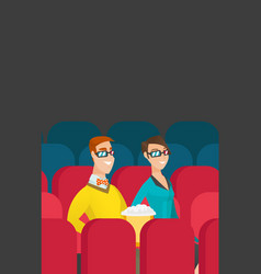 Caucasian couple watching 3d movie in the theatre vector