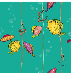 Pattern of a colored fishes vector