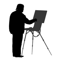 Silhouette artist at the easel vector