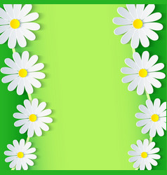 Floral green frame with 3d chamomile flower vector