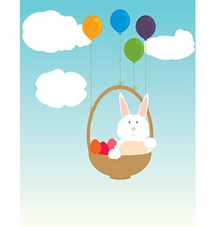 Easter bunny floating in basket vector
