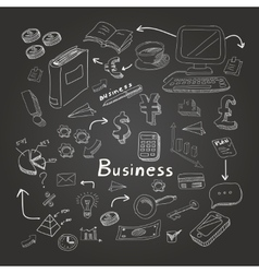 Doodle business diagrams set on blackboard vector