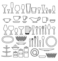 Silhouette of cookware and kitchen accessories vector