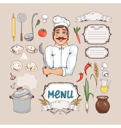 Menu for russian cuisine vector