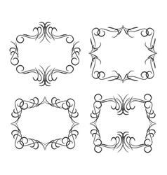 Vintage border design elements black on white vector