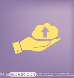 Hand holding a cloud download icon download files vector