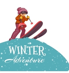 Winter adventure poster with skier girl vector
