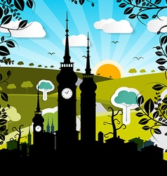 Urban Landscape with Houses and Tower Silhouette vector image